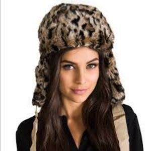 Juicy Couture Faux Fur Cheetah Trapper Hat NWT